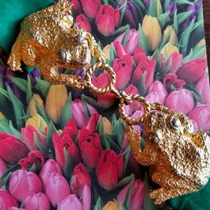 Mimi DiN kissing frogs belt vintage gold green